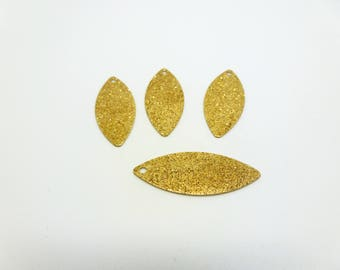 sequins shuttle 25 * 10mm gold glittery stardust (8SBD23) 4 charms