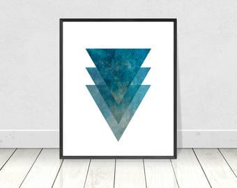 Marble Decor, Marble Print, Printable Art, Marble Wall Art, Scandinavian Art, Geometric Print, Blue Wall Art,Minimalist Poster,Triangles Art