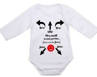 """body bébé message à papa """"mode d'emploi pour papa"""", aide papa avec bébé, vas y papa, tu peux y arriver.body bébé,manches courtes ou longues"""