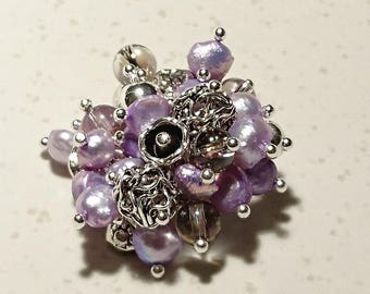 """Ring """"A Bouquet for Brussels"""" keshi pearls, silver and glass on silver findings."""