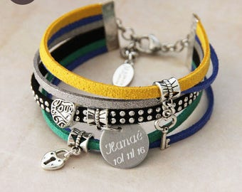 """Personalized with names """"Basic"""" Peacock bracelet"""