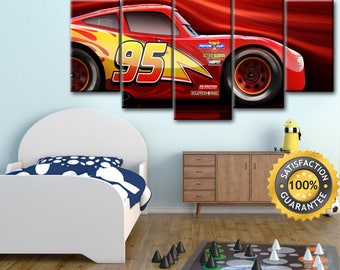 Cars 3, Disney Cars canvas, Cars 3 poster, Lightning, Mcqueen, Disney Movie Canvas, Cars canvas, Lightning Mcqueen, Kids Room decor