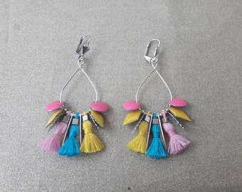 Blue, pink, yellow tassel earrings