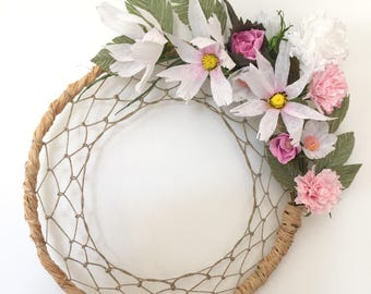 Crown style dream catcher crepe paper flowers and raffia