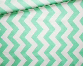 White chevron fabric Mint, 100% cotton printed 50 x 160 cm, zigzag, chevron, green pastel and white