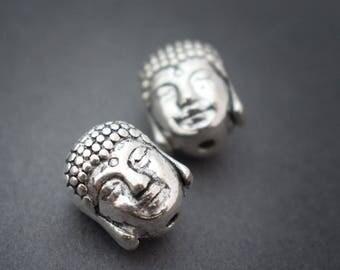 4 pcs - zen ethnic beads silver metal Buddha head • 10mm