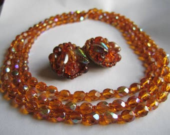 """50s 60s 22"""" Necklace AND Earrings Set Germany Iridescent Brown Amber Gold Autumn Colors Costume Jewelry Long Beads"""
