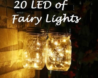 20 LEDs Fairy Lights, 2 meters, Wedding Decorations lights, LED Mason Jar light Wedding Decor, firefly Lights, Party fairy lights