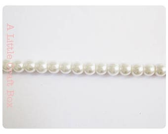 60 6mm - White Pearl glass beads