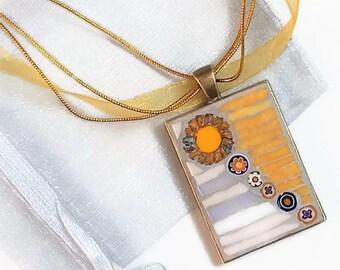 Yellow necklace bronze rectangular metal flower mosaic pendant