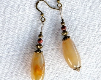 Earrings * stones and BRONZE * yellow Orange Agate and Red Jasper
