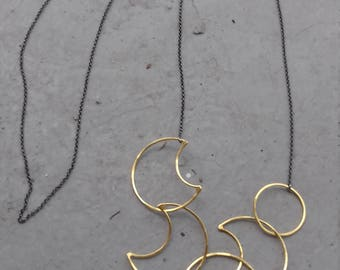 silver,bronze,chain,necklace,statement,moon,pendant,christmas gift,gift for her,gold platted,platinum platted