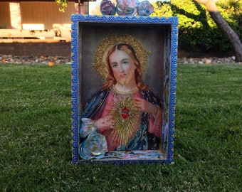 Nicho, Altar, Shrine, Catholic Religious Gift Religious Shadow, Box Sacred Heart of Jesus Gift, retablo, catholic shrine