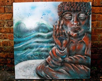 Party Wave Original 90 x 90 cm Mixed Media Surfing Buddha Painting on Canvas