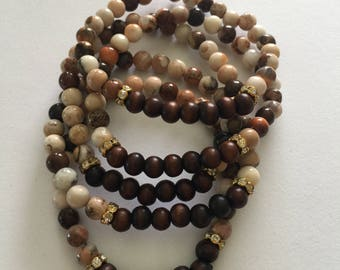 Bead Bracelet Set/Wood/Earth Tones/