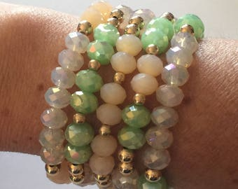 Bead Bracelet Set/Green and Nude Crystals