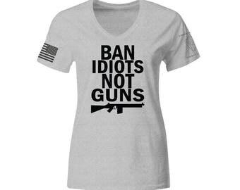 Ban Idiots Not Guns Shirt, Ladies 2nd amendment shooting military army funny hunter tshirt tee shirt gun ammo camo bullet