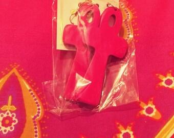 Pink Ankh Earrings