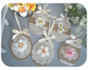 set of 5 eggs in paper mache, Shabby Chic Style.