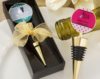 24 Personalized Gold Metal Wine Bottle Stopper Favors - Set of 24
