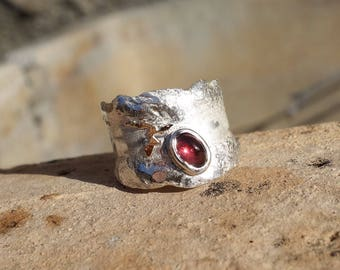 Silver ring, gold and Garnet, Garnet ring, women ring, designer ring, melted, recycled silver ring.