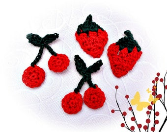 cherries and strawberries with crochet cotton