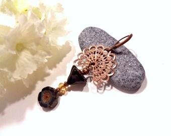 Stud Earrings, glass flower beads from Bohemia under double metal fan