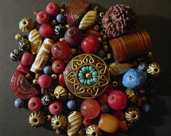 121 beads from Nepal in agate, coral, turquoise, seed, Horn and silver
