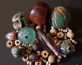 50 glass African beads, Horn, wood and terracotta