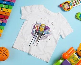 Kids Elephant Top, Rainbow Elephant T-shirt, Bright Elephant Tshirt, Elephant Lover Gift, Stocking Filler Ideas, Elephant T-Shirt Gift