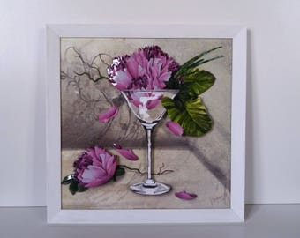 "Canvas 3d ""Martini Flowers"" Framed ON ORDER"