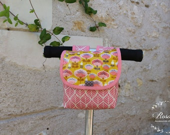 Bicycle and scooter flowers pink and mustard yellow for girl gift bag