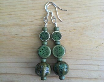 Green ceramic beaded dangle earrings