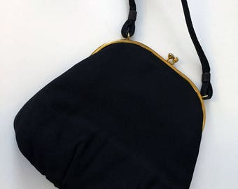 Vintage : 1980's Black Hand Bag with Gold Closure