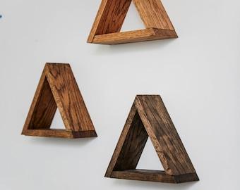 Floating Oak Triangle Shelves