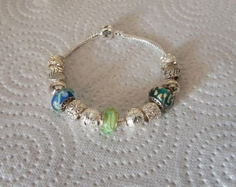 Bracelet Bead murano Lemon Zest / pandora / Silver 925/glass/crystal/glitter/blue/green/round/charm European/gift/party/love/Ribbon.