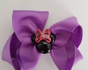 2 x Matching Purple Hair Bows with Minnie Mouse Centrepieces