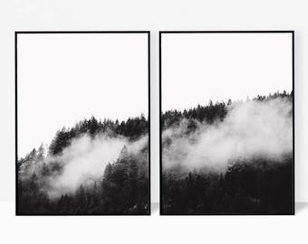 Forest print, forest wall art, foggy forest, black and white forest photography, nature photography, misty forest, minimalist landscape