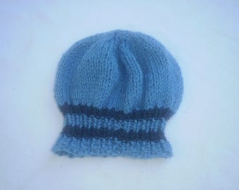Slouchy Beanie in soft blue wool