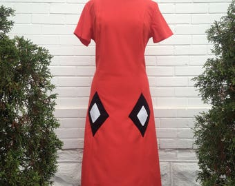 Vermilion 1970s Harlequin Mod Dress