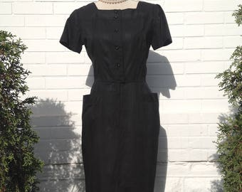 1960s Black Dress with Pockets by Donna Petite