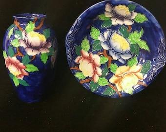 Vintage Maling Pottery England Cobalt Blue Vase and Bowl