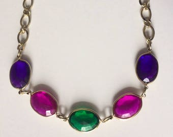 Retro 1970's Lucite Pink Purple Green Statement Necklace