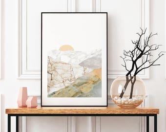 Nature Art Modern, Mountain Landscape Wall Art, Modern Collage, Marble Art, Framed Art Prints, Large Wall Art