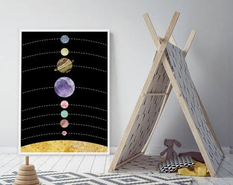 Kids Space Art, Astronomy Posters, Galaxy Wall Art, Marble Wall Artwork, Nursery Large Wall Art, Print Framed