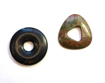 Stone Pendants, Circle, Black Stone, Pendant, Geometric, Polished Stone, Assorted Shapes, Rocks, DIY, BS103