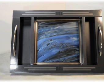 Dazzling Art Glass Tray with Two Side Sections | Finished with iridescent charcoal grey, silver, black and multiple gloss clear-coats.