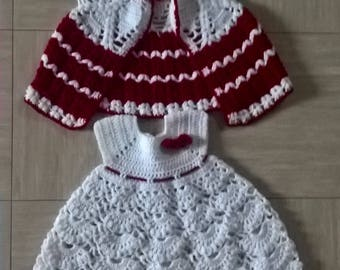 Dress & matching vest, white and Red Christmas 6 months