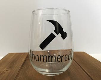 hammered wine glass, wine glass gift, wine glass gift set, funny wine glass