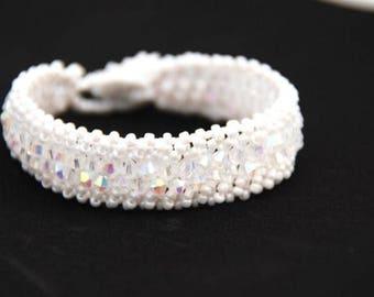 Snow White Crystal Bracelet, Crystal Bracelet, Bridal Jewellery, Bridal Bracelet, Gift for Her, Mothers Day Gift, Bridesmaid Bracelet